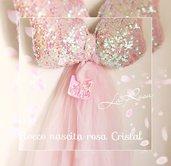 Fiocco nascita bimba rosa Cristal