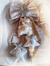 Fiocco nascita cottone fatto a mano