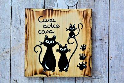 Targhetta in legno con famiglia di gatti casa dolce casa