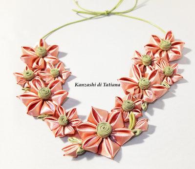 Collana kanzashi con fiori 5.1