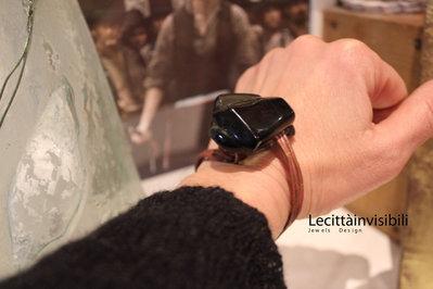 Bracciale in rame e cristallo nero fatto  a mano regolabile