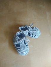Scarpine sandali neonato uncinetto in cotone - sandaletti maschietto bebè - nascita fatto a mano Battesimo - babbucce estate