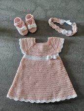 Completo in cotone : vestito, scarpette e fascetta con fiocco