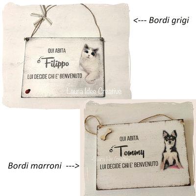 Targa di benvenuto spiritosa con cane o gatto, personalizzata con nome e foto