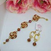 Parure bracciale + orecchini color oro e marrone con cristalli e bottoni vintage