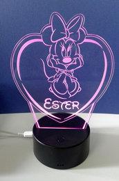 Lampada da tavolo 3D a led Minnie personalizzata con nome