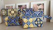 Set 2 Borselli portaoggetti stile Positano Mare blu