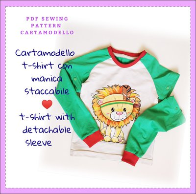 Cartamodello pdf t shirt manica raglan staccabile corta e lunga bambino