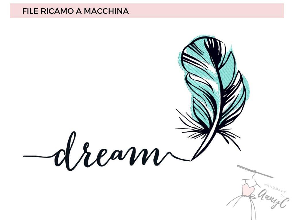 Ricamo embroidery design Vp3, PES,  JEF scritta Dream con Piuma