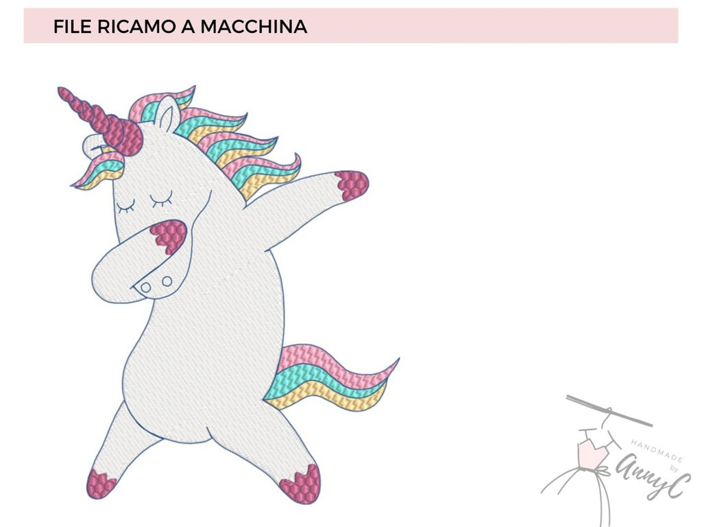 Unicorno ballerino - File per Ricamo Pes, Vp3, Jef