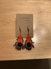 Orecchini pendenti piuma - cristallo Swarovski - peacock - arancio - summer