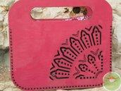Borsa in legno e pelle, borsetta in materiale recuperato, Rosoni di luce, borsetta da passeggio, borsetta lavabile, borsa elegante a mano