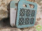 Borsa in legno e pelle, borsetta in materiale recuperato, Cementine, borsetta da passeggio, borsetta lavabile, borsa elegante a mano