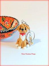 Portachiavi cane barboncino personalizzato con nome su un charm a forma di osso, idea regalo per amanti dei barboncini