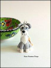 Portachiavi cane schnauzer personalizzato con nome su un charm a forma di osso, idea regalo per amanti degli schnauzer, regalo schnauzer