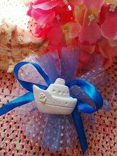 Barca  in gesso ceramico su tulle