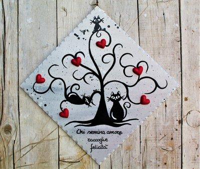 Targhetta in legno con albero della vita e gatti 20x20cm