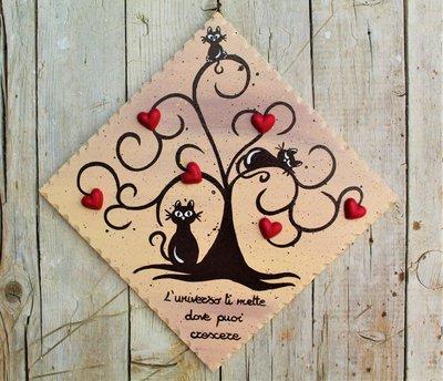 Targhetta in legno con albero della vita marrone e gatti 20x20cm