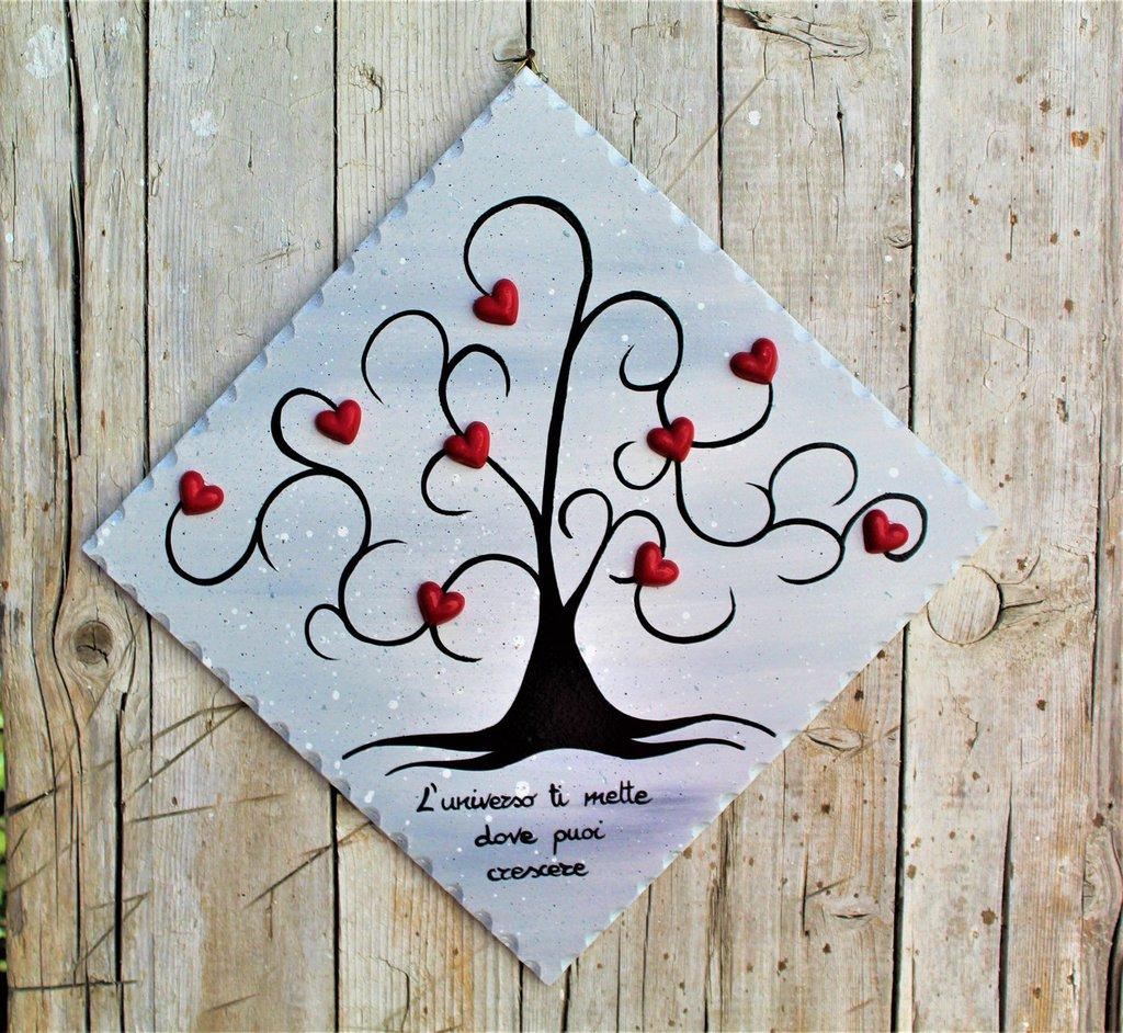 Targhetta in legno con albero della vita (grigio) 25x25cm