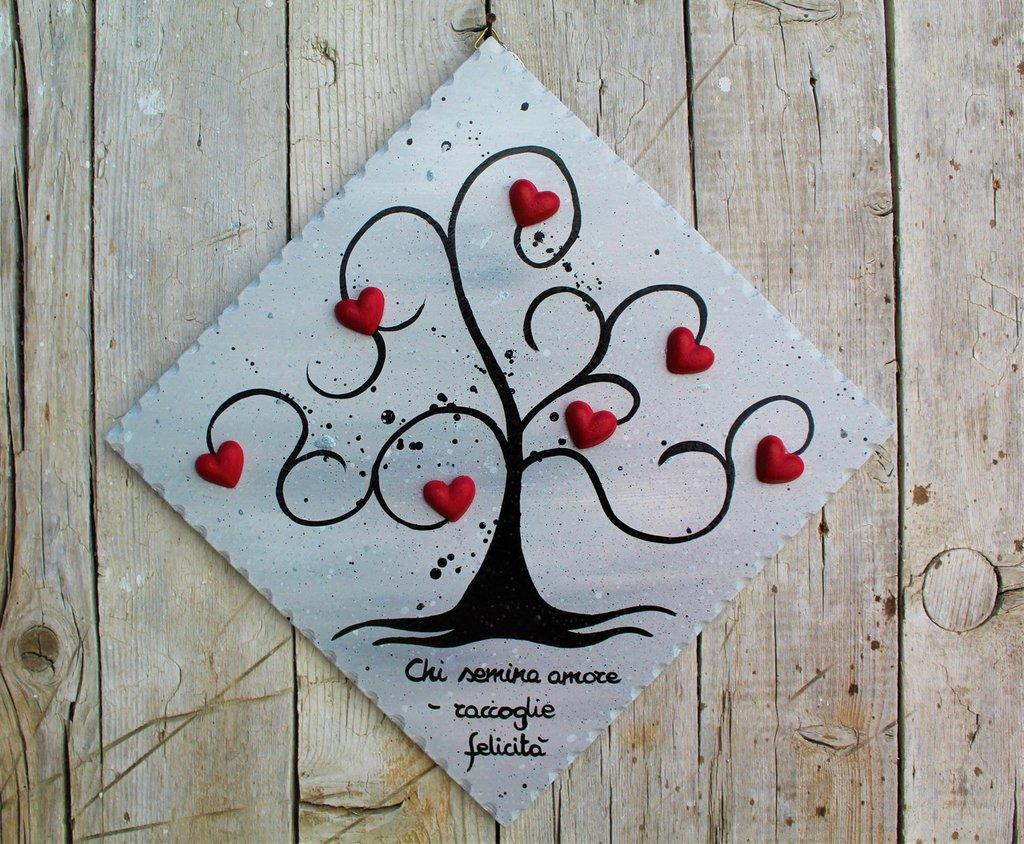 Targhetta in legno con albero della vita (grigio) 20x20cm