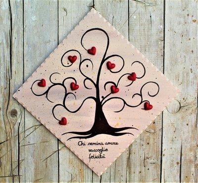Targhetta in legno con albero della vita (marrone) 25x25cm