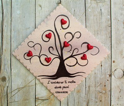 Targhetta in legno con albero della vita (marrone) 20x20cm