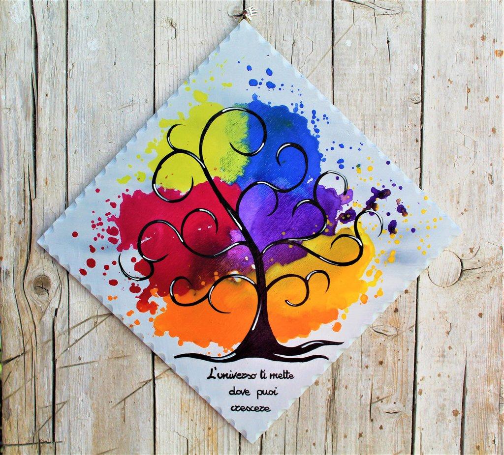 Targhetta in legno con albero della vita colorato 25x25cm