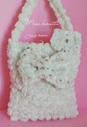 Mini borsetta bianca bimba  in tessuto di rose