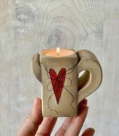 Porta candeline in legno