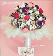 Bouquet sposa di bottoni spaziale futuristico