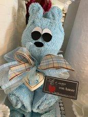 Coppia di asciugamani (teli ospite) a forma di orsetto, azzurro