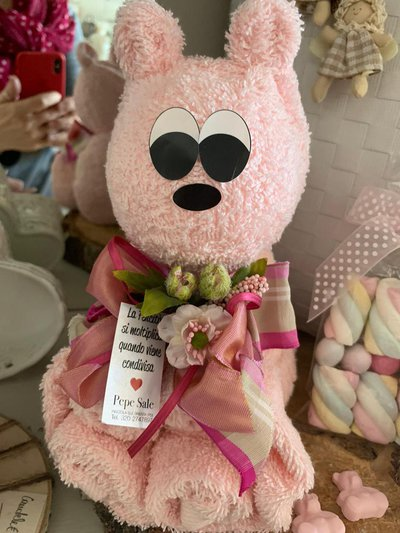 Coppia di asciugamani a forma di orsetto, rosa