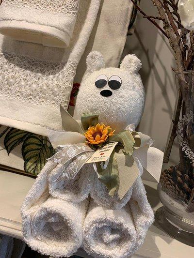 Coppia di asciugamani a forma di orso, neutro