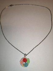 Collana con charm, ciondolo con fiori e rosa