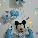Fiocco nascita blu con  stella e topolino  sulla  luna.