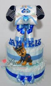 Torta di pannolini grande Pampers Cagnolino cucciolo animale cane Idea regalo utile originale per nascita battesimo o compleanno