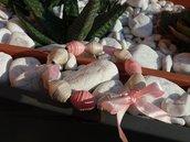 Bracciale bianco e rosa con pietre