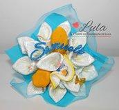 Torta di Pannolini Pampers mazzo di Fiori bouquet + BAVAGLINO- idea regalo, nascita, battesimo, compleanno