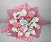 Torta di Pannolini Pampers mazzo di Fiori bouquet + BAVAGLINO- idea regalo, nascita, battesimo, compleanno,