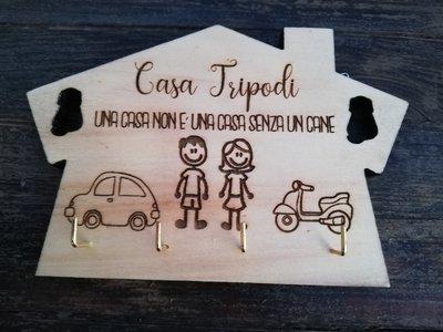 Appendichiavi casa in legno con incisione personalizzata