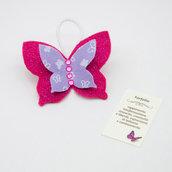 Gadget portafortuna farfalla fucsia, 7 x 5.5 cm