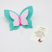 Gadget portafortuna farfalla tiffany, 7 x 5.5 cm