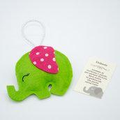 Gadget portafortuna elefante verde, 8 x 5.5 cm