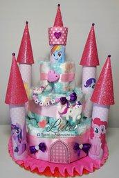 Torta di Pannolini Pampers Castello unicorni Little Pony + catenella portaciuccio silicone femmina rosa idea regalo originale e utile nascita battesimo