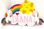 Fiocco nascita pannolenci arcobaleno e unicorni