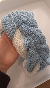 Scaldacollo fatto a mano scaldacollo donna scalda collo in cotone scaldacollo bianco azzurro