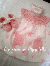 Completino prendisole baby con inserti crochet rosa talia 3 mesi.