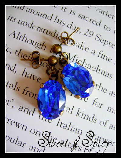 LUXURY COLLECTION-SWAROVSKi VINTAGE -VICTORIAN SAPPHIRE BLUE EARRINGS-ORECCHINI VINTAGE-VITTORIANI CON SWAROVSKI SAPPHIRE BLUE