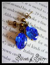 LUXURY COLLECTION-SWAROVSKi VINTAGE -VICTORIAN SAPPHIRE BLUE EARRINGS-ORECCHINI VINTAGE-VITTORIANI CON SWAROVSKI SAPPHIRE BLUE