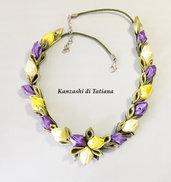 Collana kanzashi con fiori 6.0
